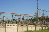 Electrical power high voltage substation — Stock Photo