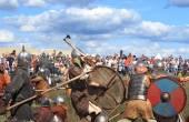 無料中世の戦いを示す Drakino、ロシアの近く Voinovo ポール (戦士のフィールド — ストック写真