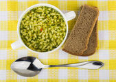 Bowl of soup with pasta, bread. Top view — Stock Photo