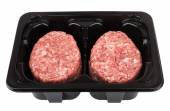 Box with raw meatballs of ground beef — Stock Photo