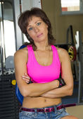 Portrait of tired of woman at the gym — Stock Photo