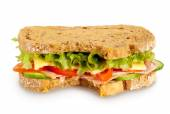 Bitten fresh sandwich (Clipping path included) — Stok fotoğraf