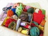 Collection box with craft supplies for needlework — Stock Photo
