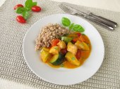 Vegetables with fish and buckwheat — Stock Photo