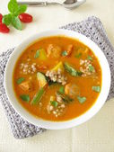Vegetable soup with fish and buckwheat — Stock Photo