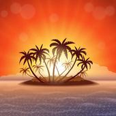 Paradise island at sunset — Stock Vector