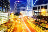 Urban city traffic light trails at night — Stock Photo