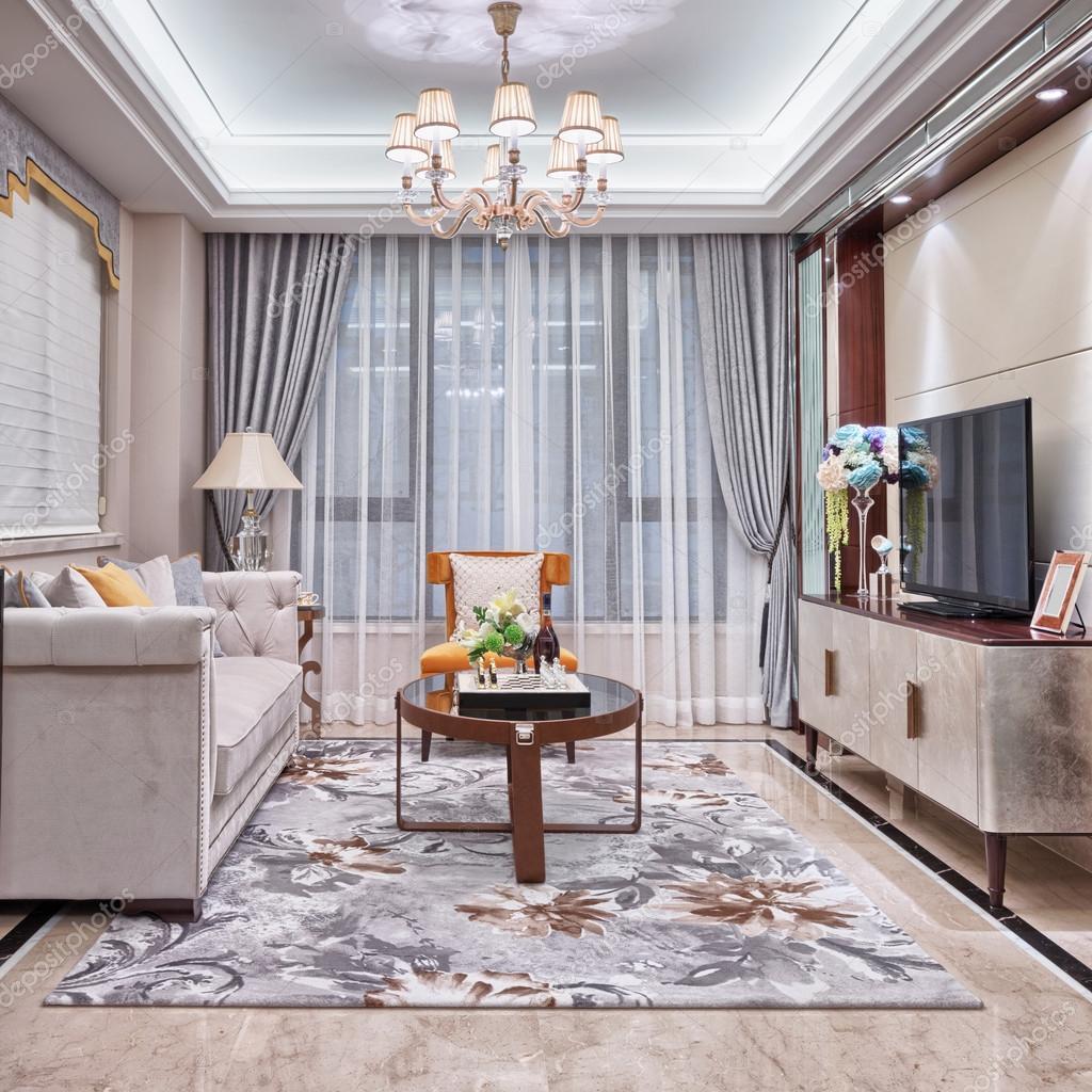 moderne woonkamer luxe decoratie interieur — stockfoto © zhudifeng, Deco ideeën