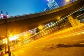 Modern city urban traffic light trails — Stock Photo