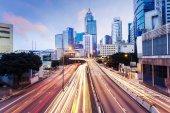 Modern urban city traffic trails — Stock Photo