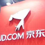 The logo of JD.com in China e-business exhibition. — Stock Photo
