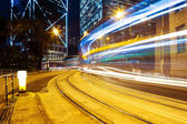 Blur motion traffic trail  in modern city — Photo