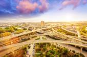 Overpass and cityscape of modern urban city — Stock Photo