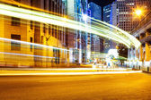 Blur motion traffic trail  in modern city — Stock Photo