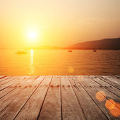 Plank board with lake — Stock Photo