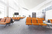 Modern airport waiting hall interior — Stock Photo