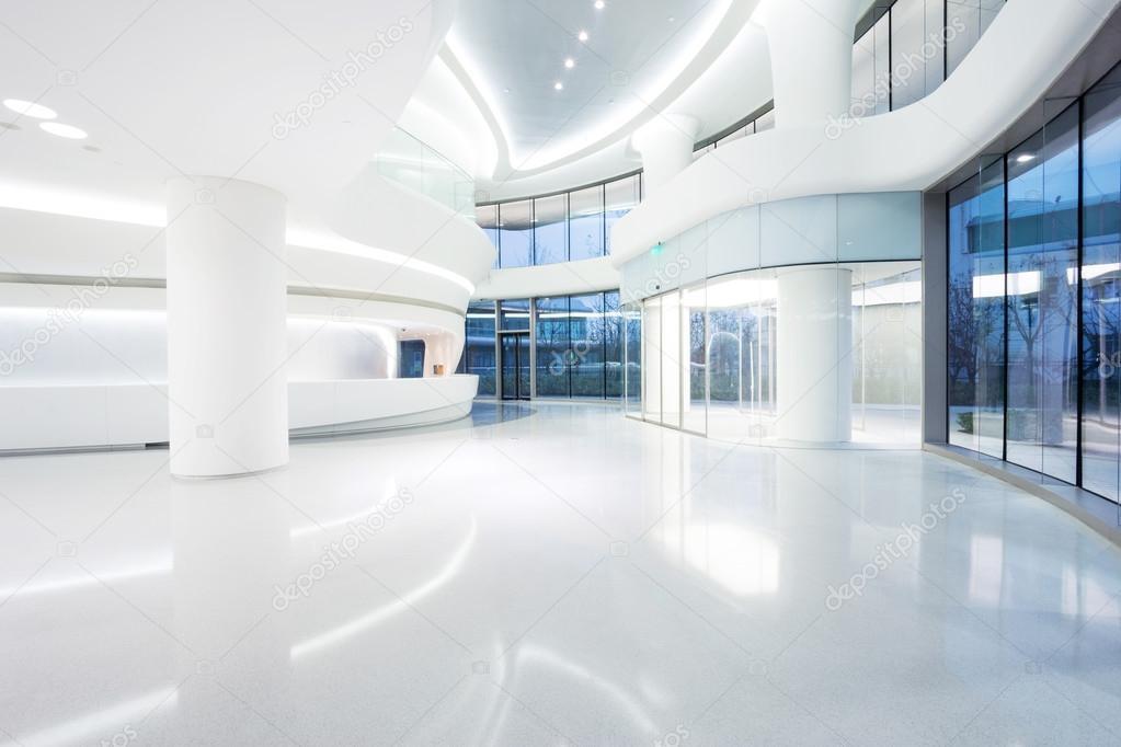 Futuristic Modern Office Building Interior Stock Photo