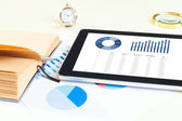 Digital tablet and smartphone with financial chart report, paper — Stock Photo