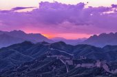 Great Wall of China at sunset — Stock Photo