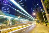 Traffic light trails at modern city street,hongkong.   — Foto Stock
