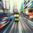 Traffic blur motions in modern city hong kong street — Stock Photo #64668663