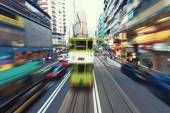 Traffic blur motions in modern city hong kong street — Stock Photo