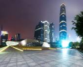 Illuminated modern cityscape and office buildings  — Foto de Stock