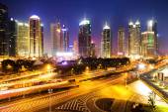 Skyline and illuminated cityscape of Shanghai — Stock Photo