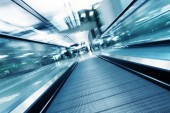 Fast motion of escalator — Stock Photo