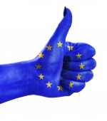 Thumb up for European Union — Stock Photo