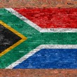 Flag of Republic of South Africa painted over brick wall — Stock Photo #68760005