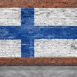 National flag of Finland painted on brick wall — Stock Photo #68760211