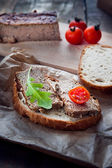 Pork pate with bread and vegetables — Stock Photo