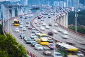 Vehicles motion blur on the bridge — Stock Photo