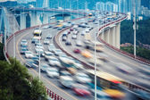 Busy traffic closeup and vehicles motion blur — Foto de Stock