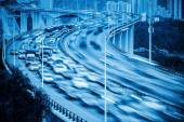 Busy traffic and vehicles motion blur on the bridge — Foto de Stock
