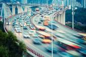 Busy traffic closeup on curve bridge — Foto de Stock