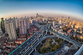 City closeup by fisheye view — Stock Photo