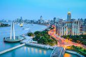 Shanghai bund in nightfall  — Stock Photo