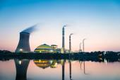 Coal power plant in nightfall — Stock Photo
