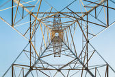 High voltage transmission pylon closeup — Stock Photo