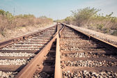 Railroad turnout closeup — Stockfoto
