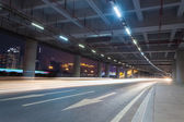 Light trails in the guangzhou tower — Stock Photo