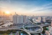 City interchange overpass at dusk — Stock Photo