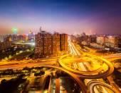 Brilliant city interchange at night — Stock Photo