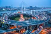 Shanghai nanpu bridge al tramonto — Foto Stock
