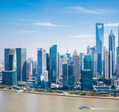 Modern building group in shanghai pudong — Stock Photo