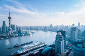 Aerial view of huangpu river — Stock Photo