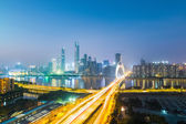 Night view of guangzhou pearl river new town skyline — Stock fotografie