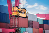 Container loading and unloading closeup — Stock Photo